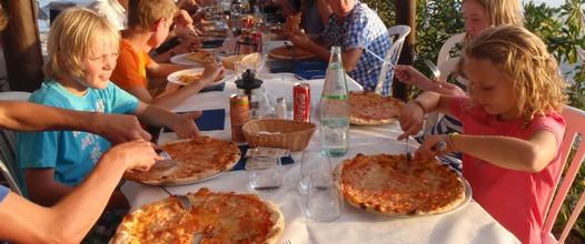 Kids enjoy dinner at flotilla