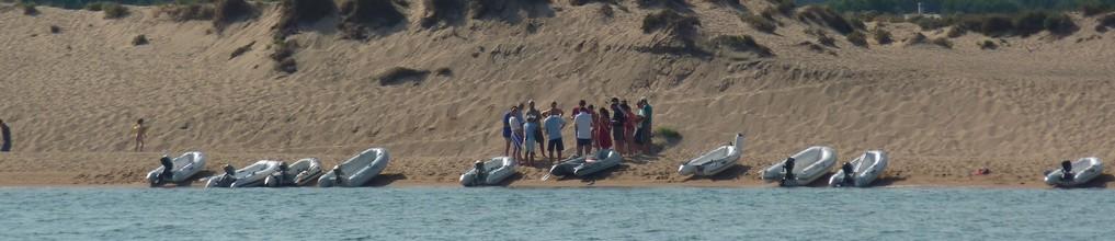 Flotilla briefing at beach