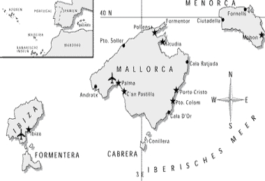 Map of the Balearics