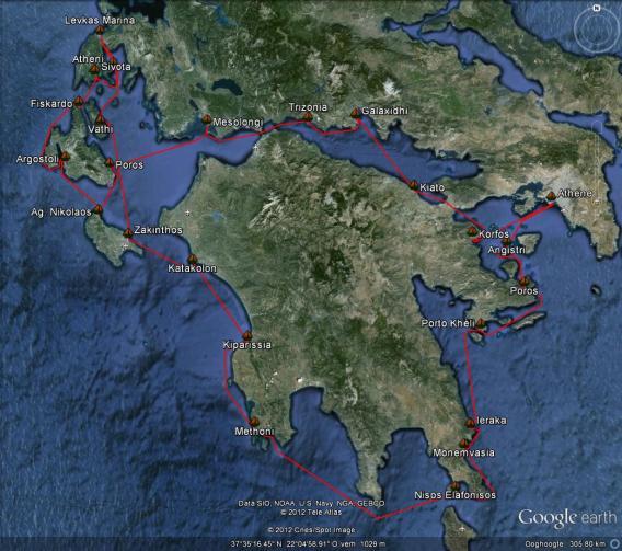 kaart van de flottielje route Peleponessos