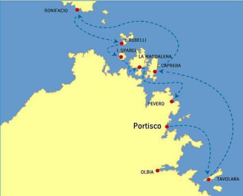 Flottielje route Sardinie vanuit Portisco