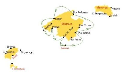 Kaartje van zeilroute Mallorca