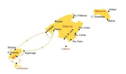 Kaartje van zeilroute naar Ibiza