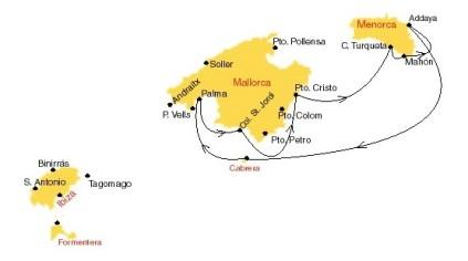 Kaartje van zeilen van Mallorca naar Menorca