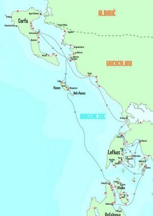 kaart van flottielje route Corfu en Lefkas